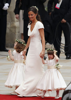 The bridesmaids wore pink Nicki McFarlane dresses and entered Westminster Abbey before the bride.