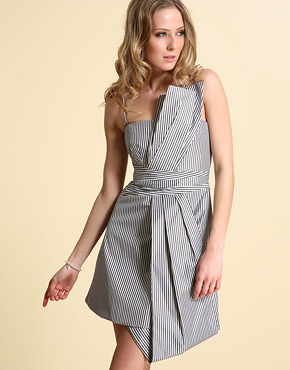 Dress Online Shopping Malaysia on Online Shopping Malaysia  Karen Millen Striped Taffeta Dress