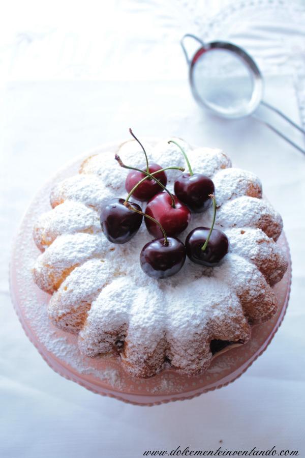 torta fior di ciliegie alla panna montata (senza burro, senza latte e senza olio)