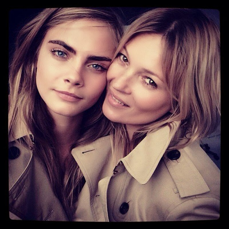 Cara Delevingne and Kate Moss selfie during Burberry photoshoot