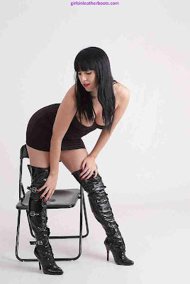 Brunette Sammi Bending in Zip and Buckle Thigh Boots