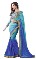 Buy Indian Roots Blue Art Silk Saree at Rs 1359 Via snapdeal :Buytoearn