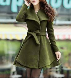 ladies all of green wool coat with charming turndown collar