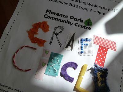 Making a poster for new craft circle at Florence Park Community Centre