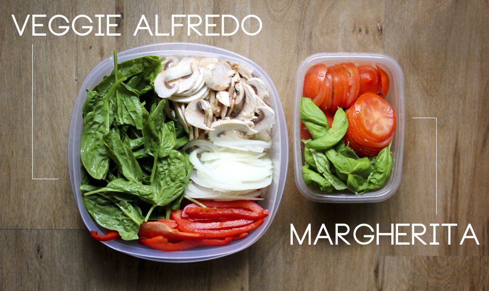 Beginning with sauce (alfredo for the Veggie Alfredo, olive oil for ...
