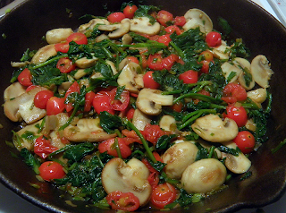Sauteed Mushrooms, Spinach, Onions, and Tomatoes