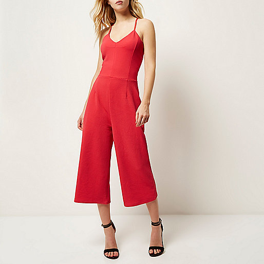 red culotte jumpsuit, crossback jumpsuit,