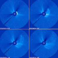 CME na kolejnych zdjęciach z koronografu LASCO C3 w odstępach 60-minutowych. (SOHO)