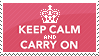 Keep Calm and Carry On stamp in pink