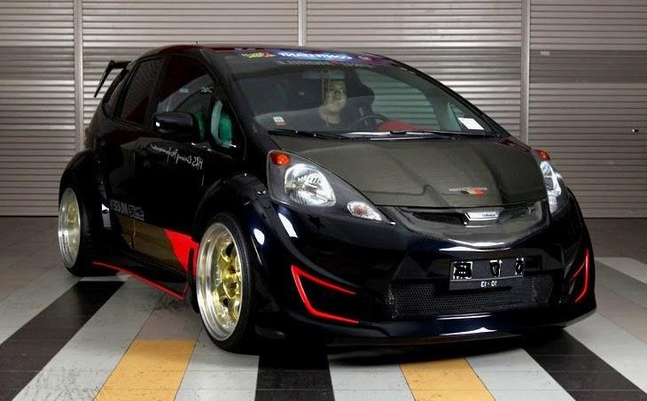 custom black honda fit, modified honda fit racing