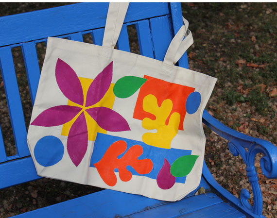 painted Matisse style tote bag