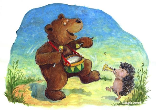 Kinderbuchillustration, Bär, Igel, Acryl