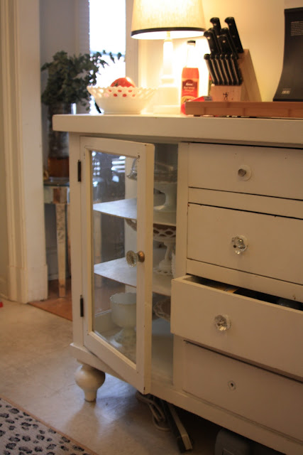 using a dresser for more counter space in the kitchen, before