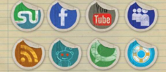 Grunge Peeling Stickers Icon Set