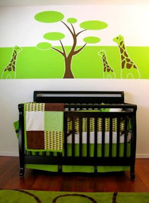 habitación bebé verde chocolate
