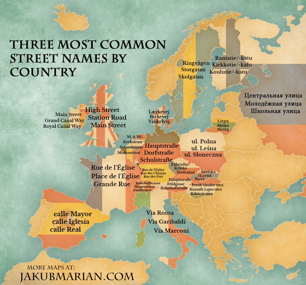 Three most common street names by country