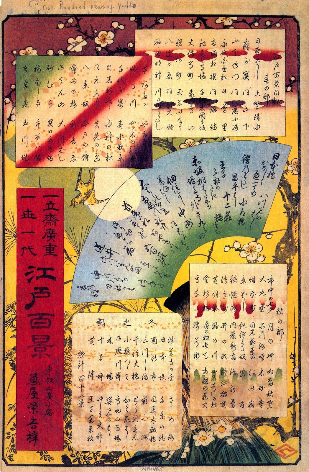 ©Utagawa Hiroshige - Cien famosas vistas de Edo. Primavera. Ilustración | xilografia | ukiyo-e. Este indice Fue obra de Baisotei Gengyo, a petición del editor tras la muerte del artista –su sello, de forma romboidal, se encuentra situado en la parte inferior a la derecha–. En la parte superior aparecen dos rectángulos donde figuran los títulos de las láminas dedicadas a la primavera, los más numerosos (42); debajo, en forma de abanico, aparecen las estampas del verano (30); los dos rectángulos inferiores se refieren al otoño (26) y al invierno (20). En la cartela roja de la izquierda aparece el título de la serie y el nombre Ichiryūsai Hiroshige –uno de los primeros nombres artísticos del maestro–, y se dice que es su obra más representativa (issei ichidai); también aparece el nombre del editor, Sakanaya Eikichi, y su dirección, Tōeizan Hirokōji. El fondo presenta motivos alusivos a las estaciones: un ciruelo en flor para la primavera, un pájaro hototogisu («cucú japonés») y la luna para el verano, y un pajar con siete tipos de hierbas para el otoño y el invierno. La caligrafía está elaborada con un tipo de escritura dispersa denominado chirashigaki, propio de las antologías poéticas.17