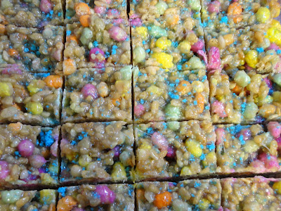 English Measurements Cake Batter Rainbow Rice Crispy Treats Recipe
