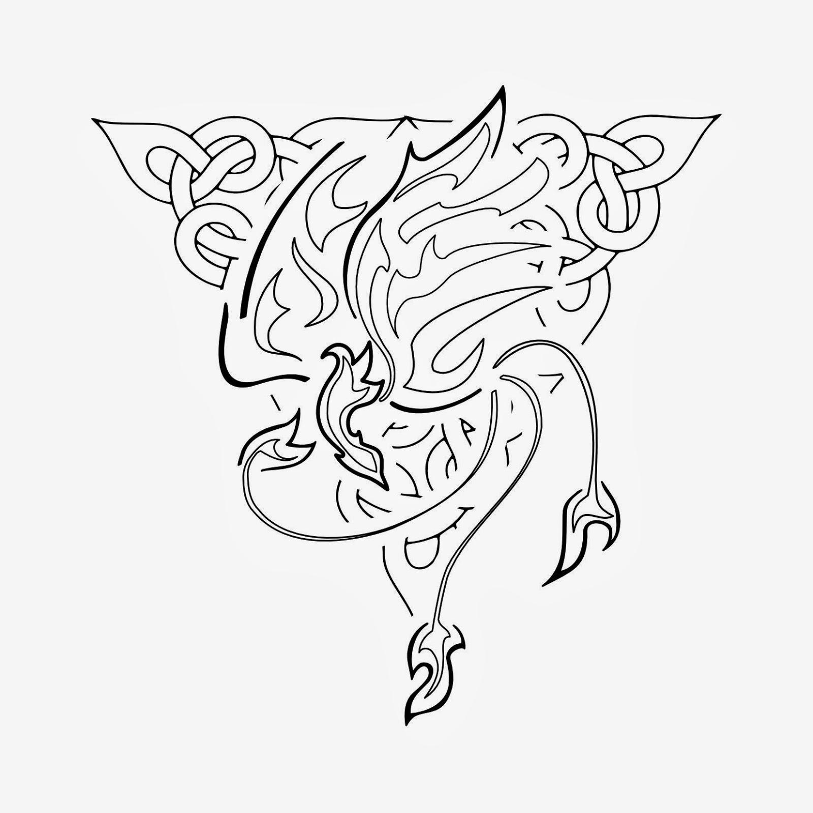 Phoenix Celtic knot tattoo stencil