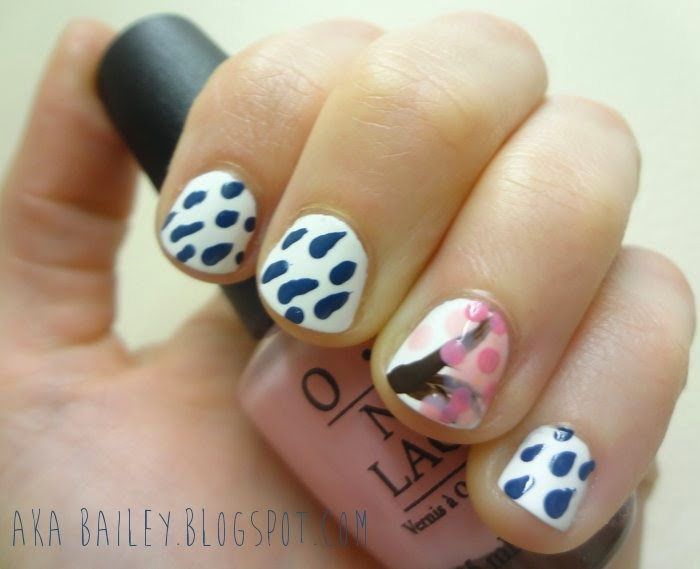 Rainy cherry blossom tree nail art