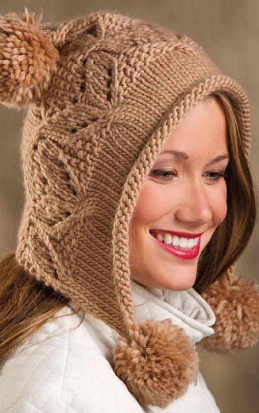 Czapka na drutach na uszy ze wzorem