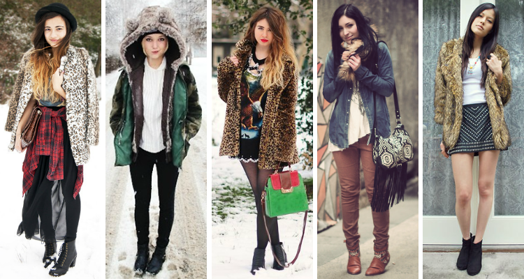 Fashion bloggers from lookbook and chictopia in faux fur trend