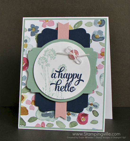 Hello card featuring pretty floral papers and Serene Silhouettes + Tin of Cards stamp sets by Stampin' Up!