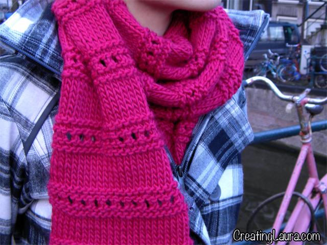 European Knitting Patterns : Creating Laura: Knitting for a European Winter Part 2: Fun Pink Scarf