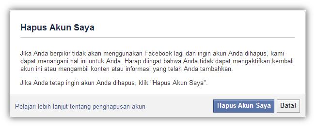 Menghapus Facebook Secara Permanen