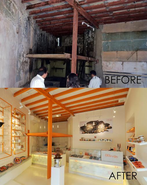 Before & After-Bruijn chocolate Store design
