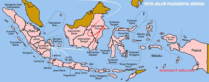 Peta Jalur Gerakan Masuknya Tentara Jepang ke Indonesia