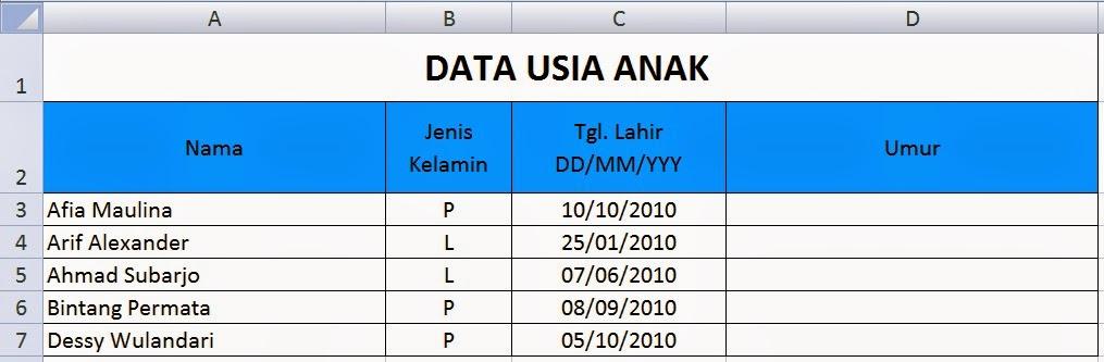 Data Usia Anak di Excel