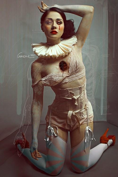 ballerine en talons rouges pleurant une larme de sang