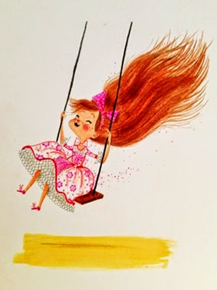 illustration by Alex T Smith of a little red haired girl on a swing
