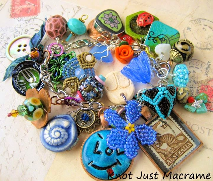 Charm bracelet made from swapped charms and artists pieces.