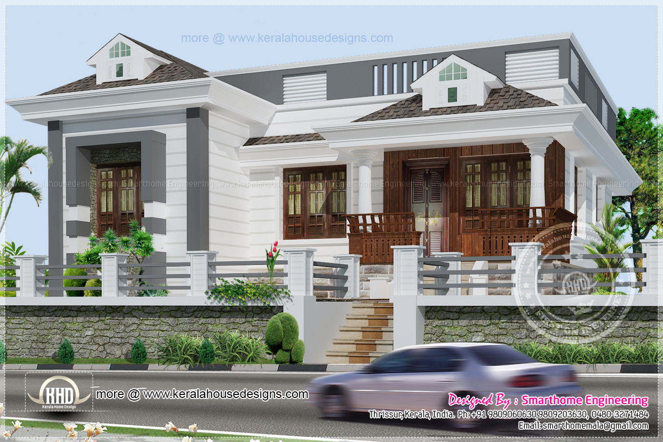3 bedroom kerala style single story budget villa indian for Single story house plans kerala