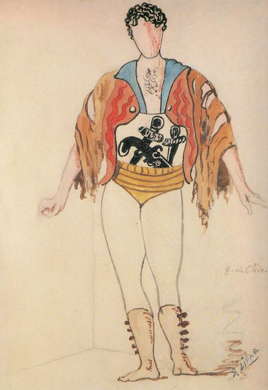 Desenho de figurino de Giorgio de Chirico.