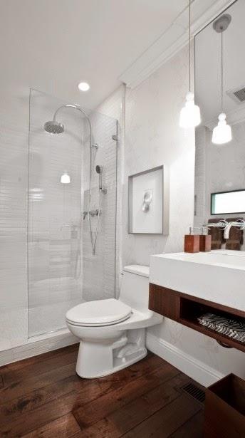 Construindo Minha Casa Clean 13 Banheiros com Piso de Madeira! -> Banheiro Pequeno Com Piso Amadeirado