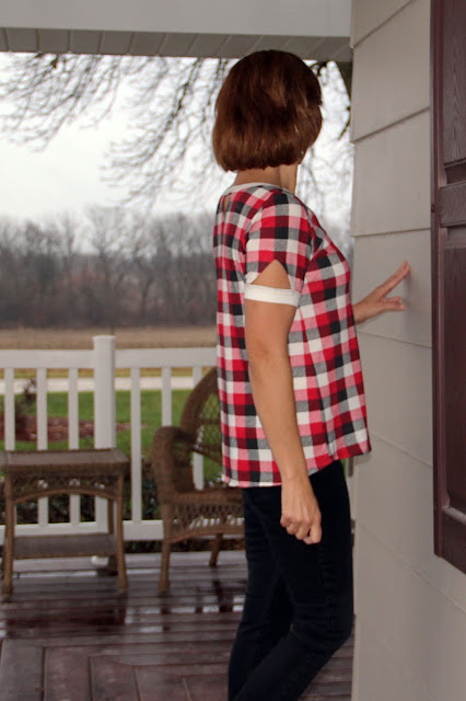 Indiesew Neptune tee with triangle cutouts using a plaid knit - side view of arm cutout