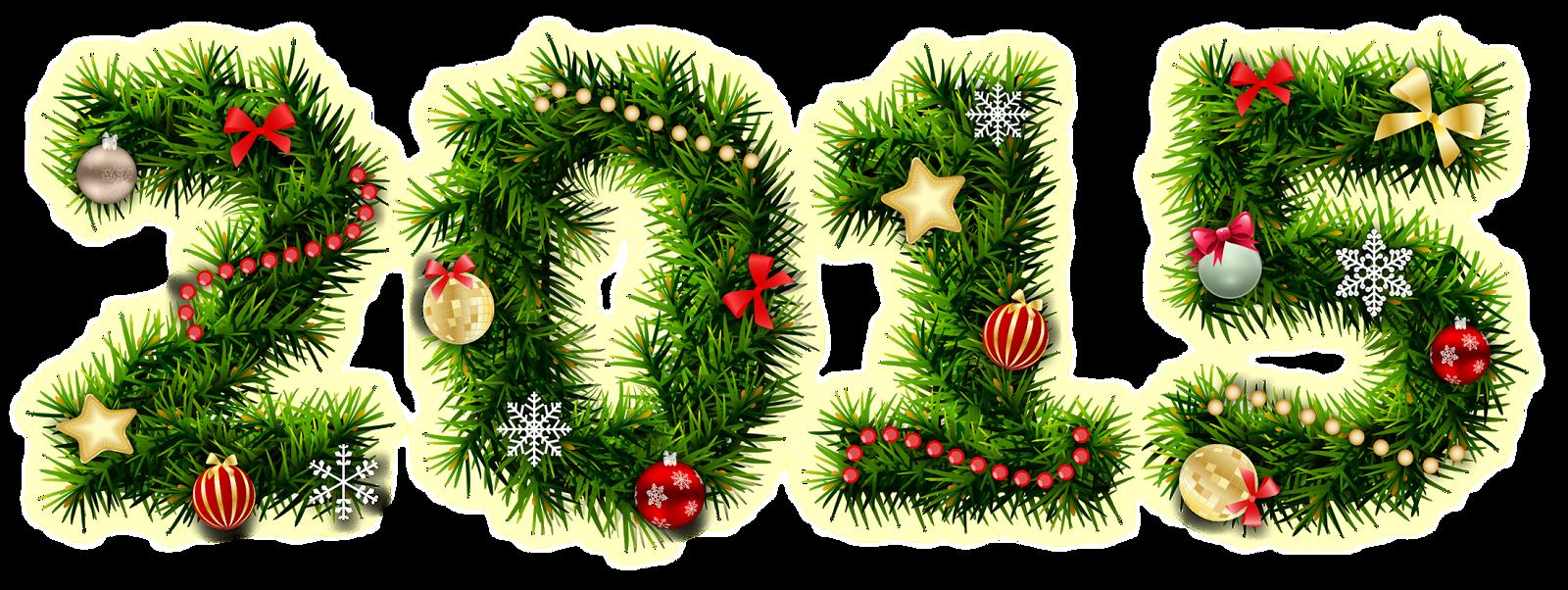 Ramas de árbol navideño formando el año 2015