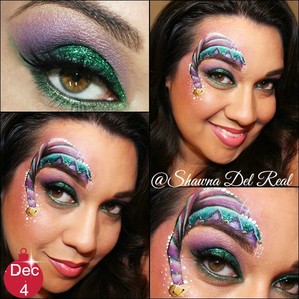 is a little christmas elf face painting and a super glittery eye makeup design i used a custom made spiltcake to create the elf hat and esmeralda sugar - Christmas Elf Makeup