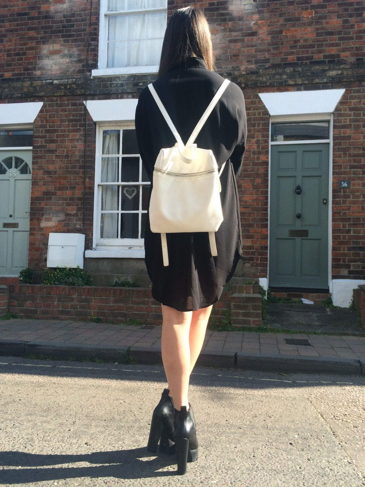 young hungry free white backpack, ootd, outfit post, fashion blogger, public desire heeled boots, street style