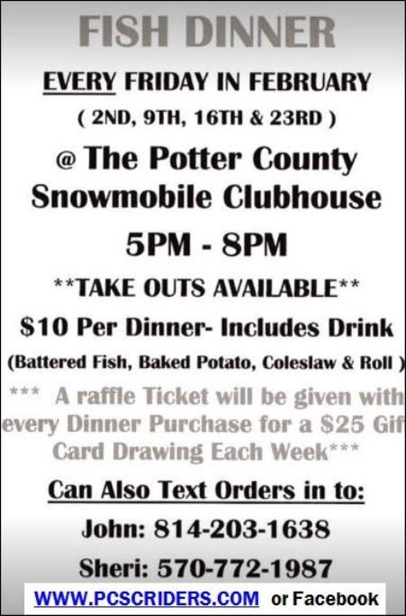 2-23 Fish Dinner, PC Snowmobile Clubhouse
