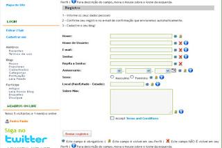 formulário de cadastro de membros