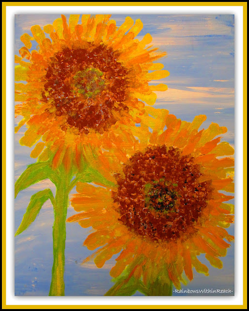 photo of: Sunflower from Collaboration of Painted Finger Prints via RainbowsWithinReach