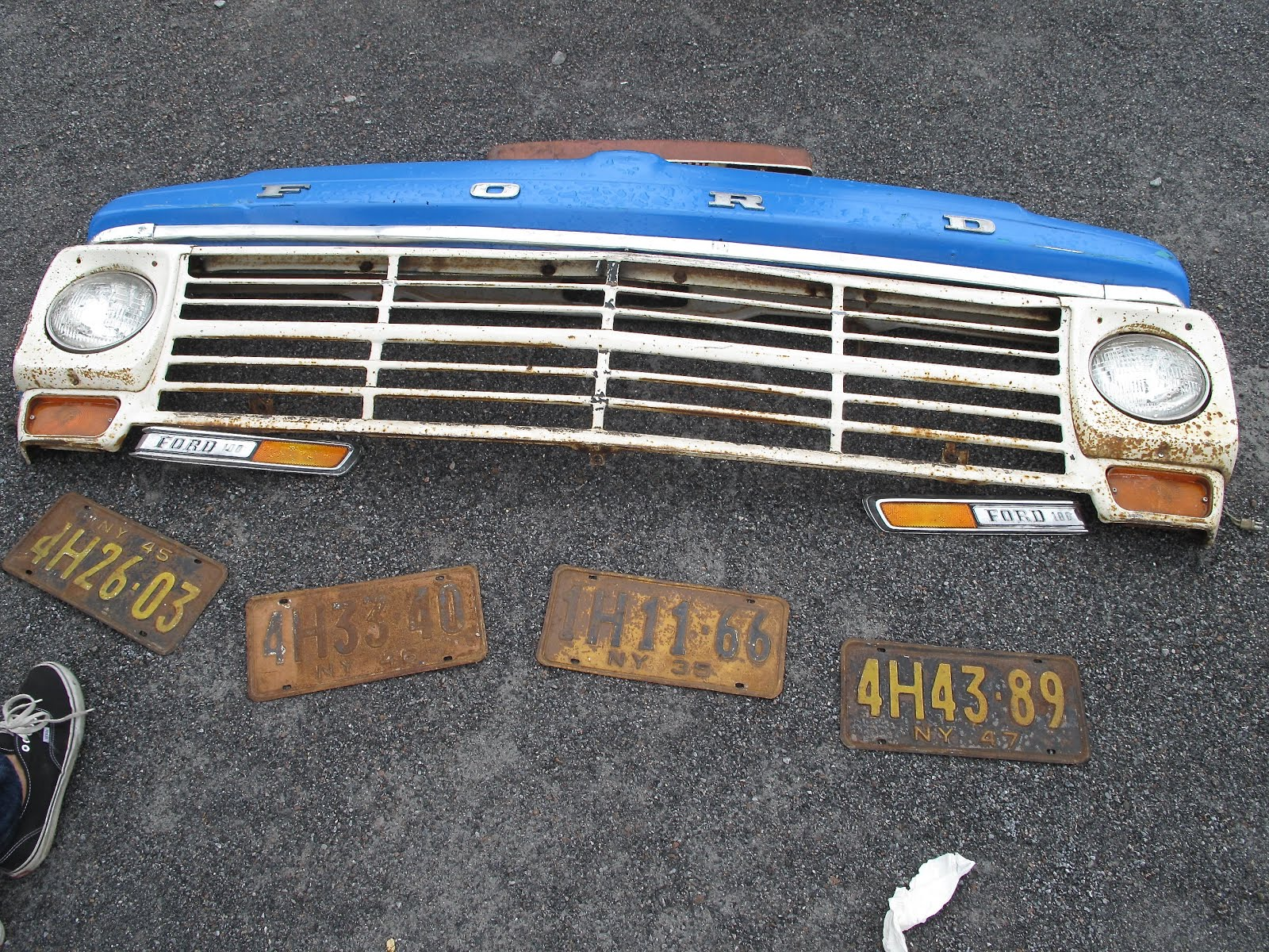 Brooklyn Flea Market features grille and front end of Ford F-150.