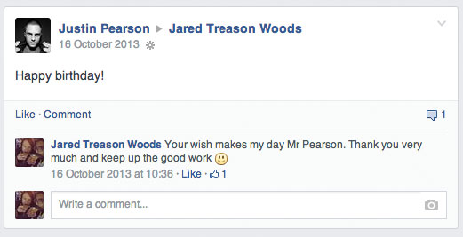 Justin Pearson wished me happy birthday again