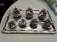 silver pinecones