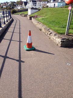 Missing removable bollard on coastal pathway at Douglas Terrace in Broughty Ferry