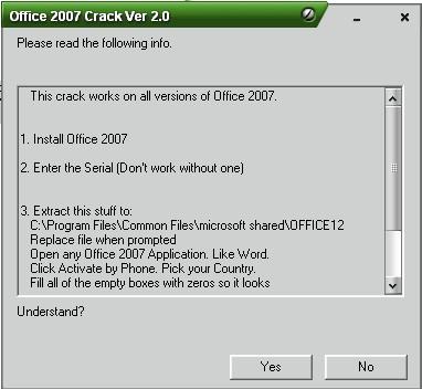 Klik File Office 2007 Activation Crack 2.0.EXE. akan Muncul. office 2007 ac